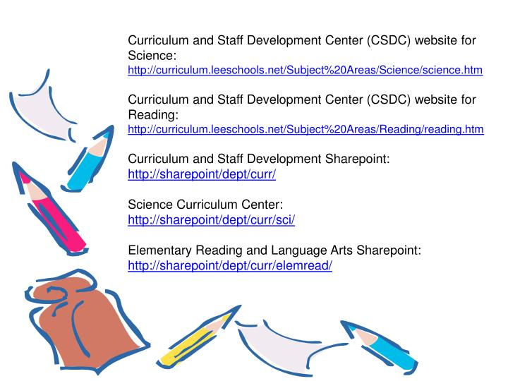 Curriculum and Staff Development Center (CSDC) website for Science: