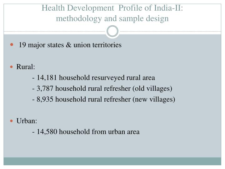 Health Development  Profile of India-II: