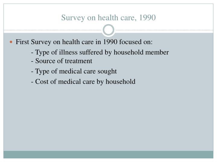 Survey on health care, 1990