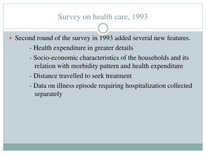 Survey on health care, 1993