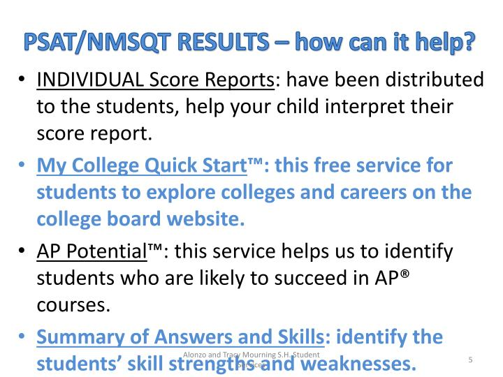 PSAT/NMSQT RESULTS – how can it help?