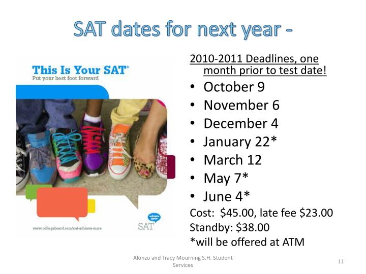 SAT dates for next year -