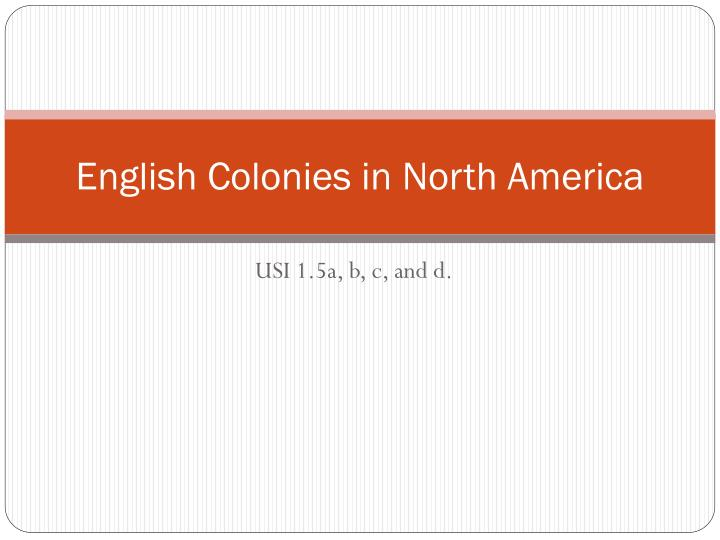 english colonies in north america n.