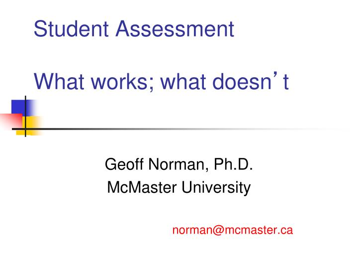 student assessment what works what doesn t n.