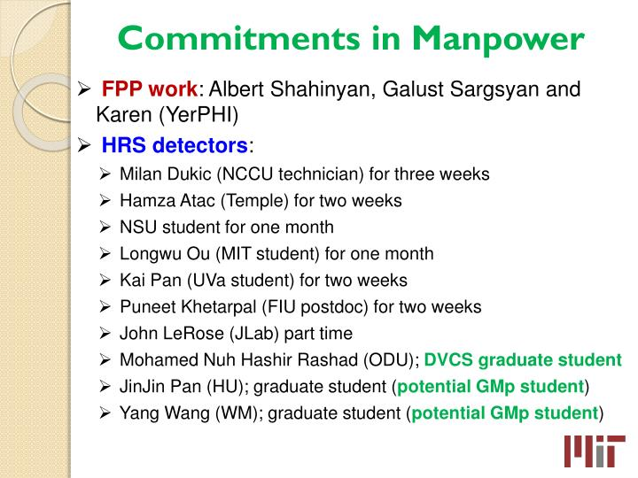 Commitments in Manpower