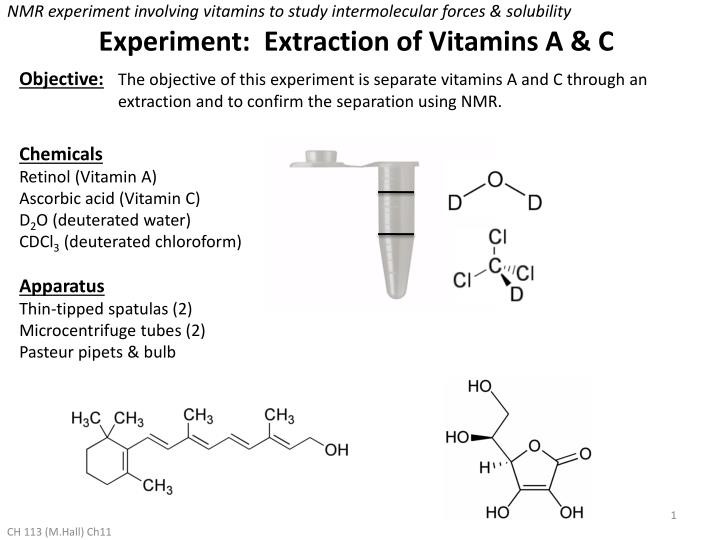 NMR experiment involving vitamins to study intermolecular forces & solubility