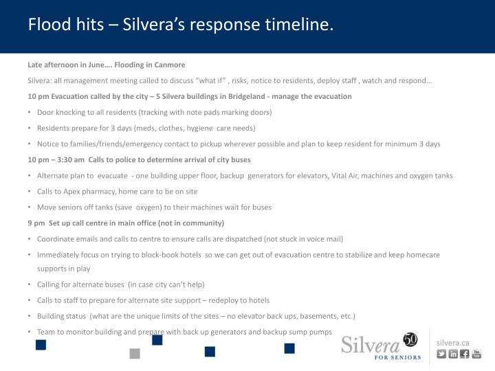 Flood hits – Silvera's response timeline.