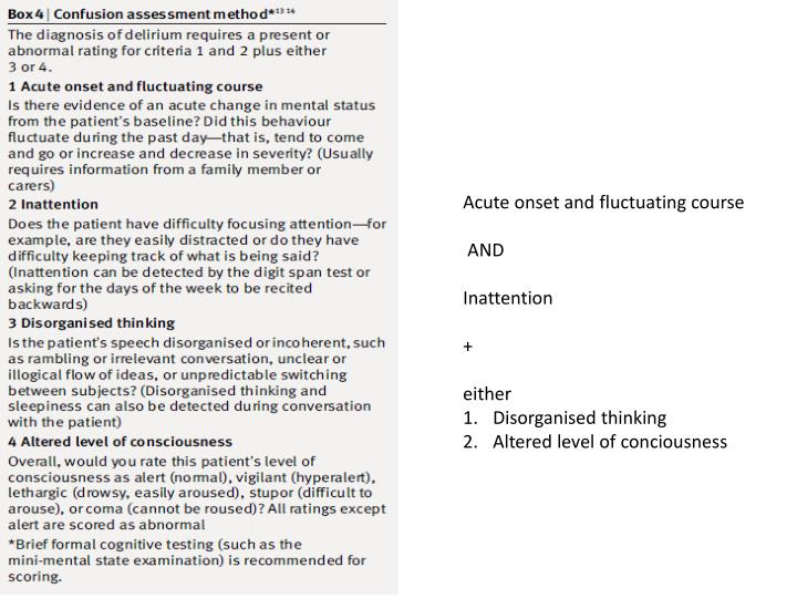 Acute onset and fluctuating course