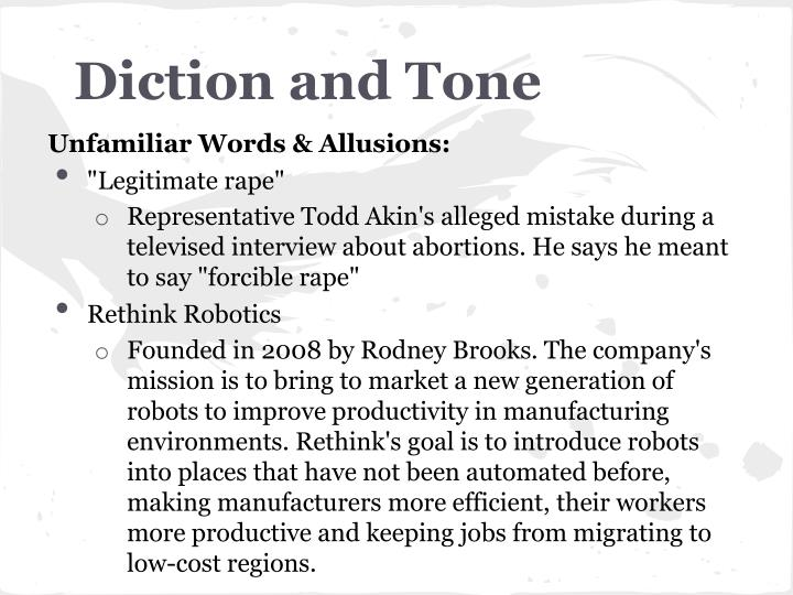 Diction and tone