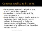 conduct a policy audit cont