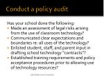 conduct a policy audit