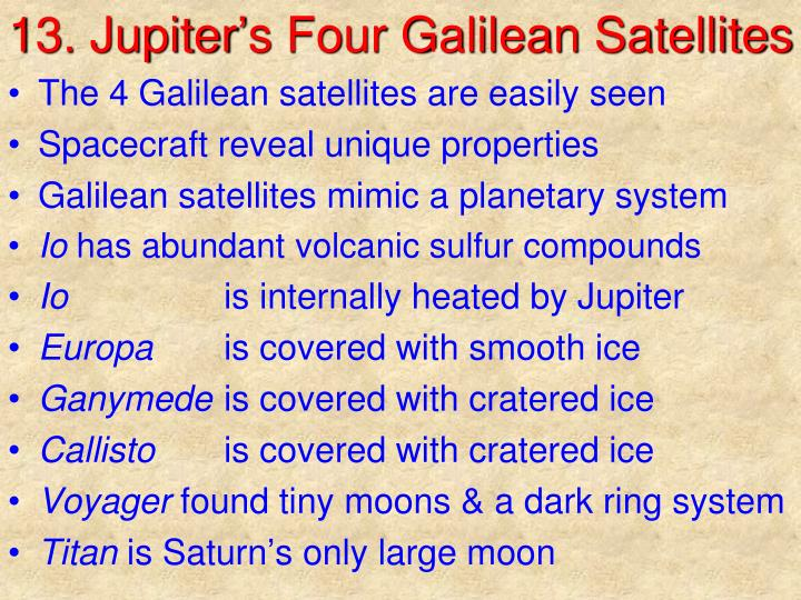 13 jupiter s four galilean satellites n.
