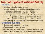 io s two types of volcanic activity