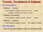 transits occultations eclipses