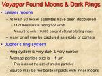 voyager found moons dark rings