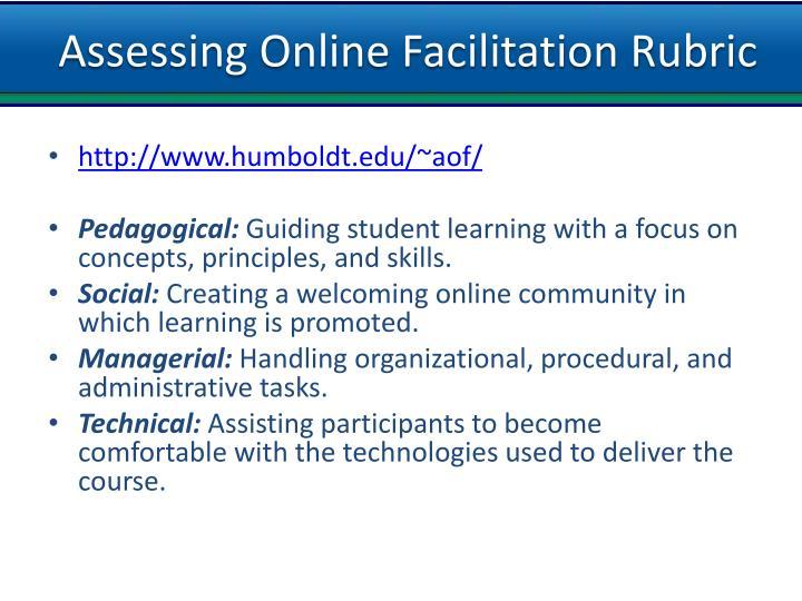 Assessing Online Facilitation Rubric
