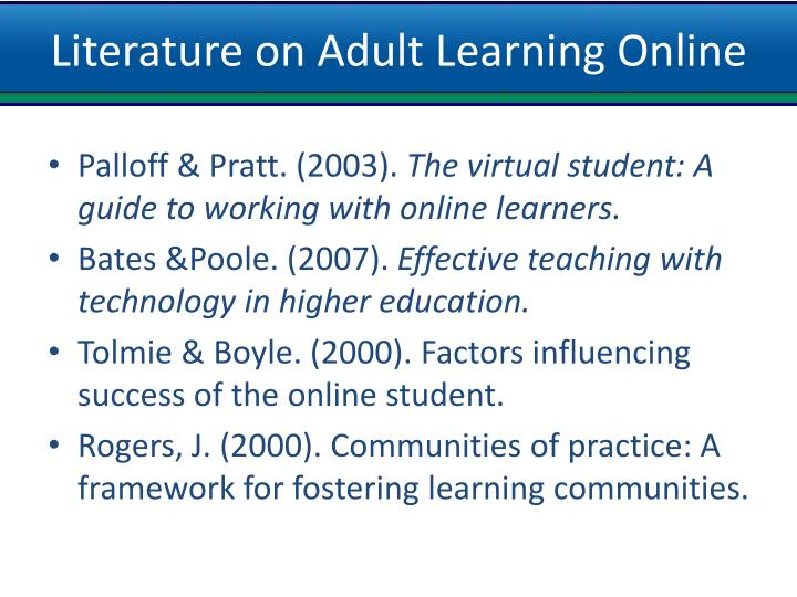 Literature on Adult Learning Online