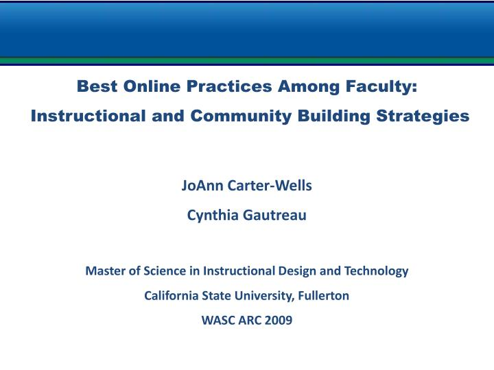 Best Online Practices Among Faculty: