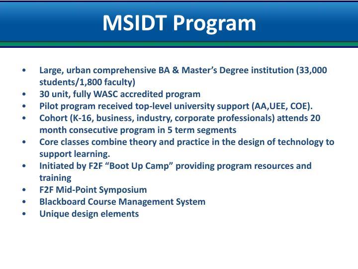 MSIDT Program
