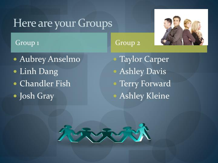 Here are your Groups