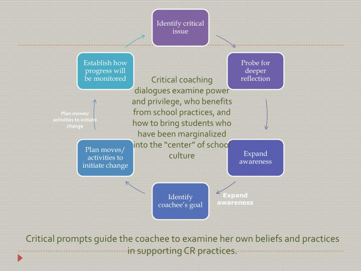 Critical prompts guide the coachee to examine her own beliefs and practices in supporting CR practices.