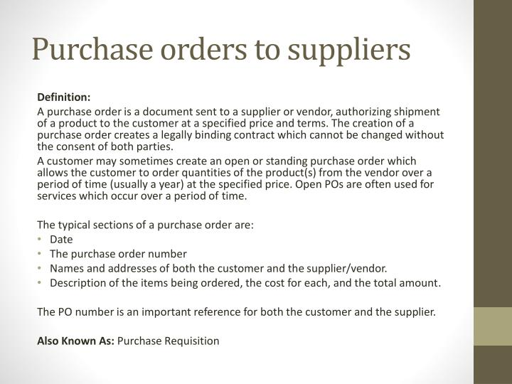 Purchase orders to suppliers