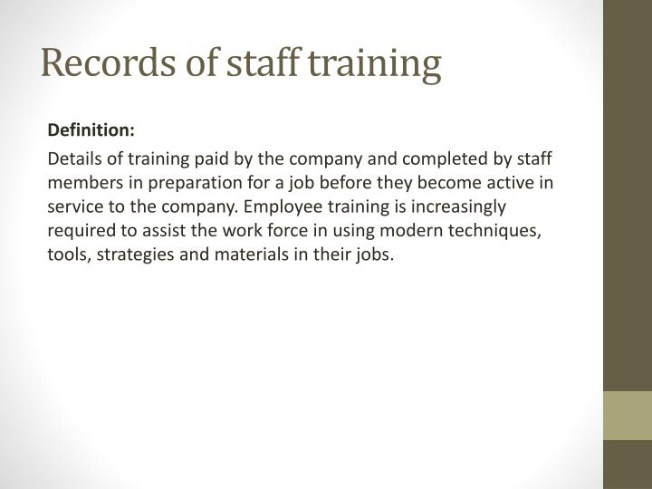 Records of staff training