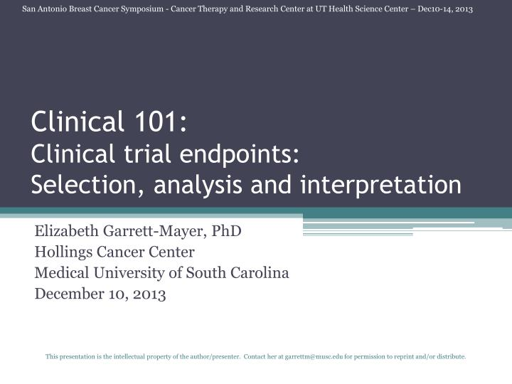 PPT - Clinical 101: Clinical trial endpoints: Selection