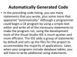 automatically generated code