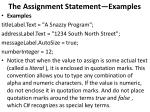 the assignment statement examples