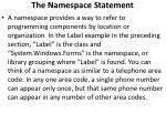 the namespace statement