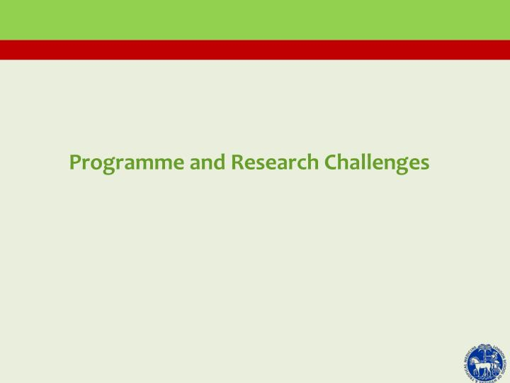 Programme and Research Challenges