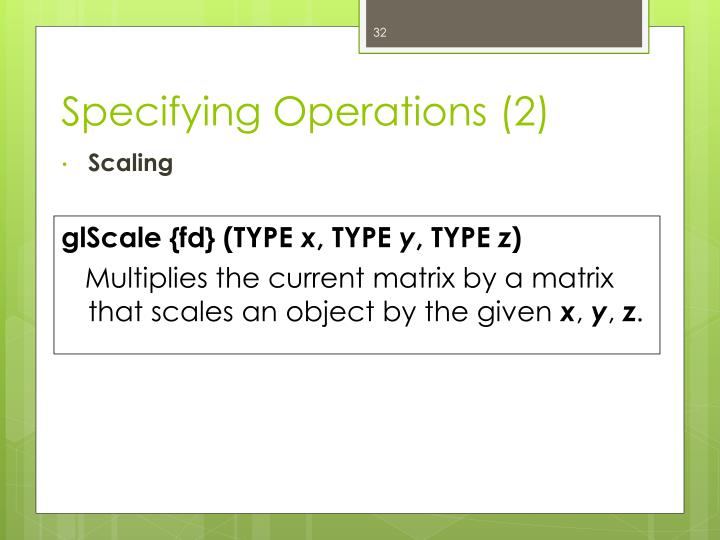 Specifying Operations (2)