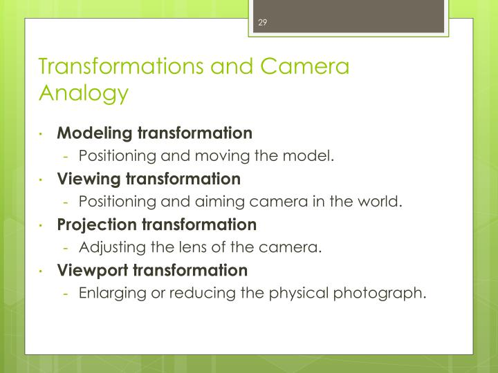 Transformations and Camera Analogy