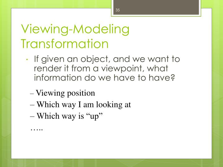 Viewing-Modeling Transformation