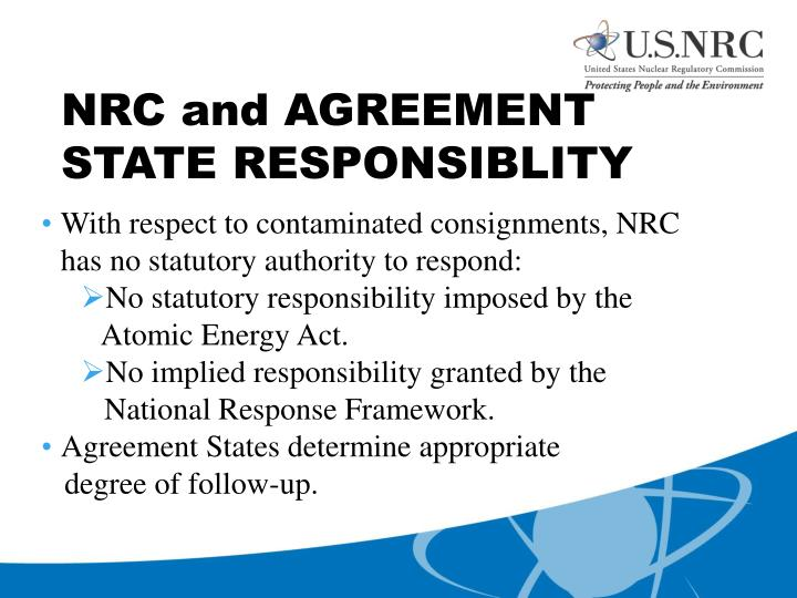 NRC and AGREEMENT