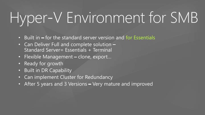 Hyper v environment for smb