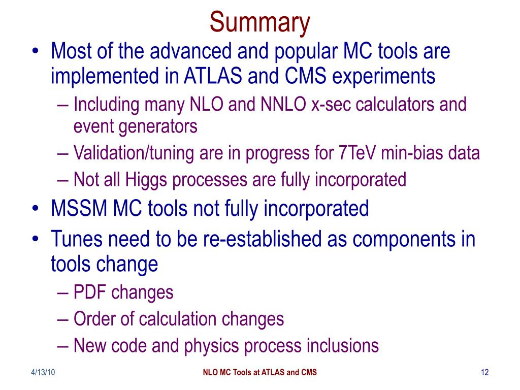PPT - NLO MC Tools in ATLAS and CMS PowerPoint Presentation