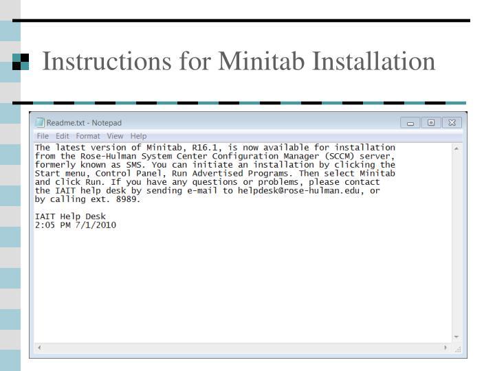 Instructions for Minitab Installation