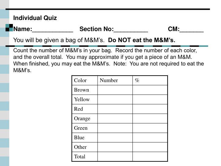 Individual Quiz