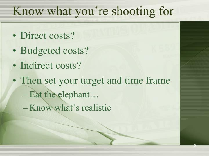 Know what you're shooting for