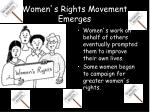 women s rights movement emerges