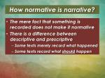how normative is narrative
