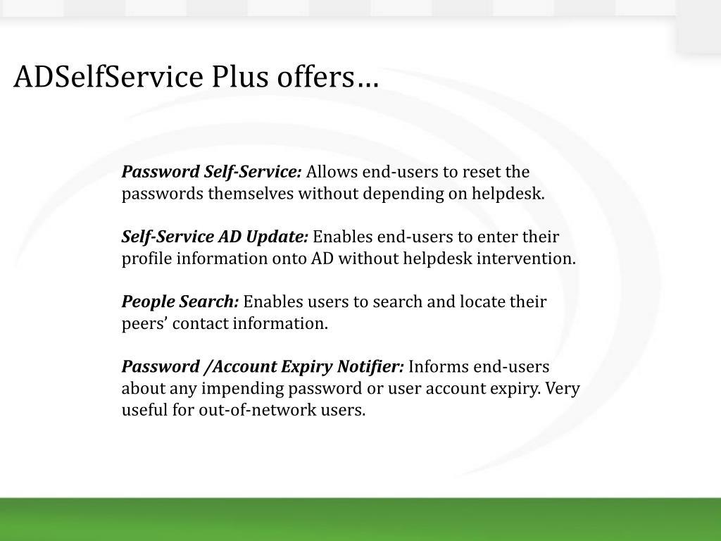 PPT - ManageEngine ADSelfService Plus PowerPoint