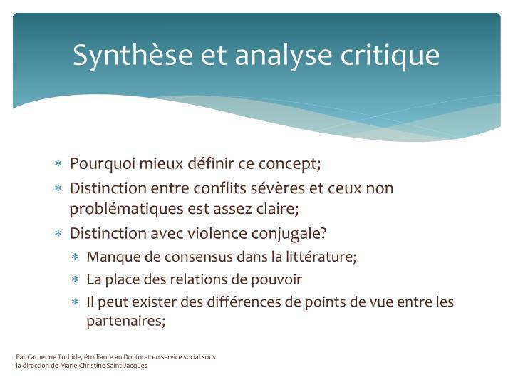 Synthèse et analyse critique