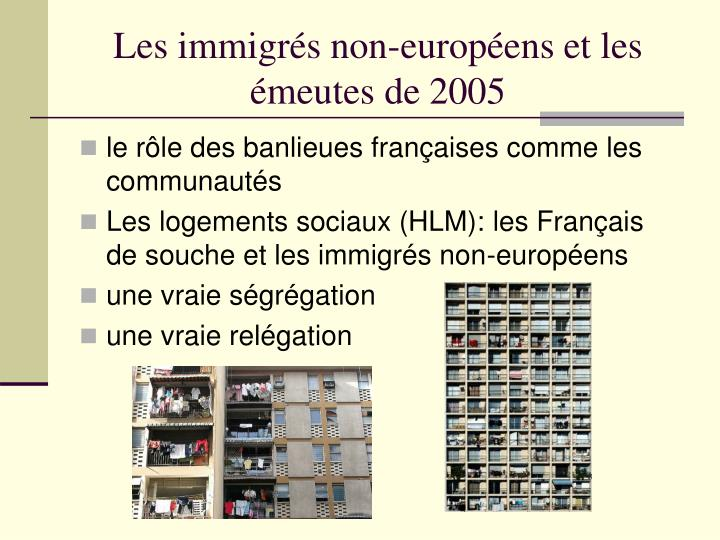 Les immigrés non-européens et les émeutes de 2005