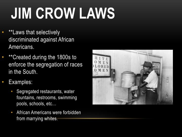 **Laws that selectively discriminated against African Americans.