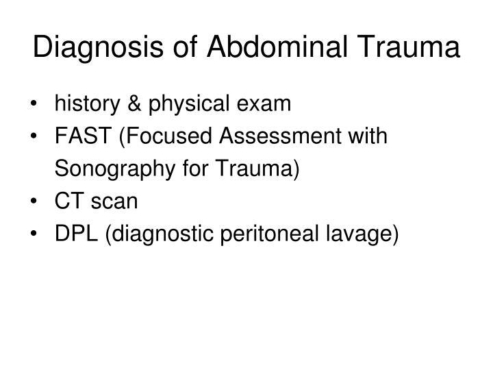 Diagnosis of Abdominal Trauma