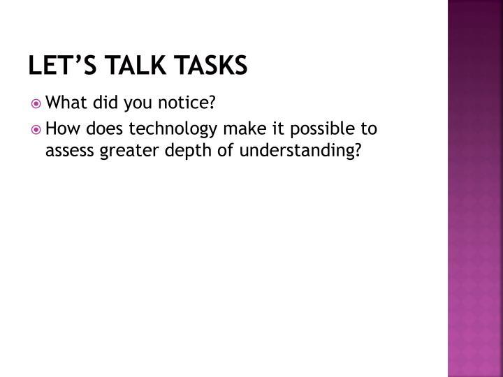 Let's talk Tasks