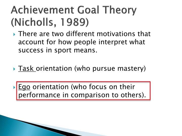 achievement goal theory nicholls 1989